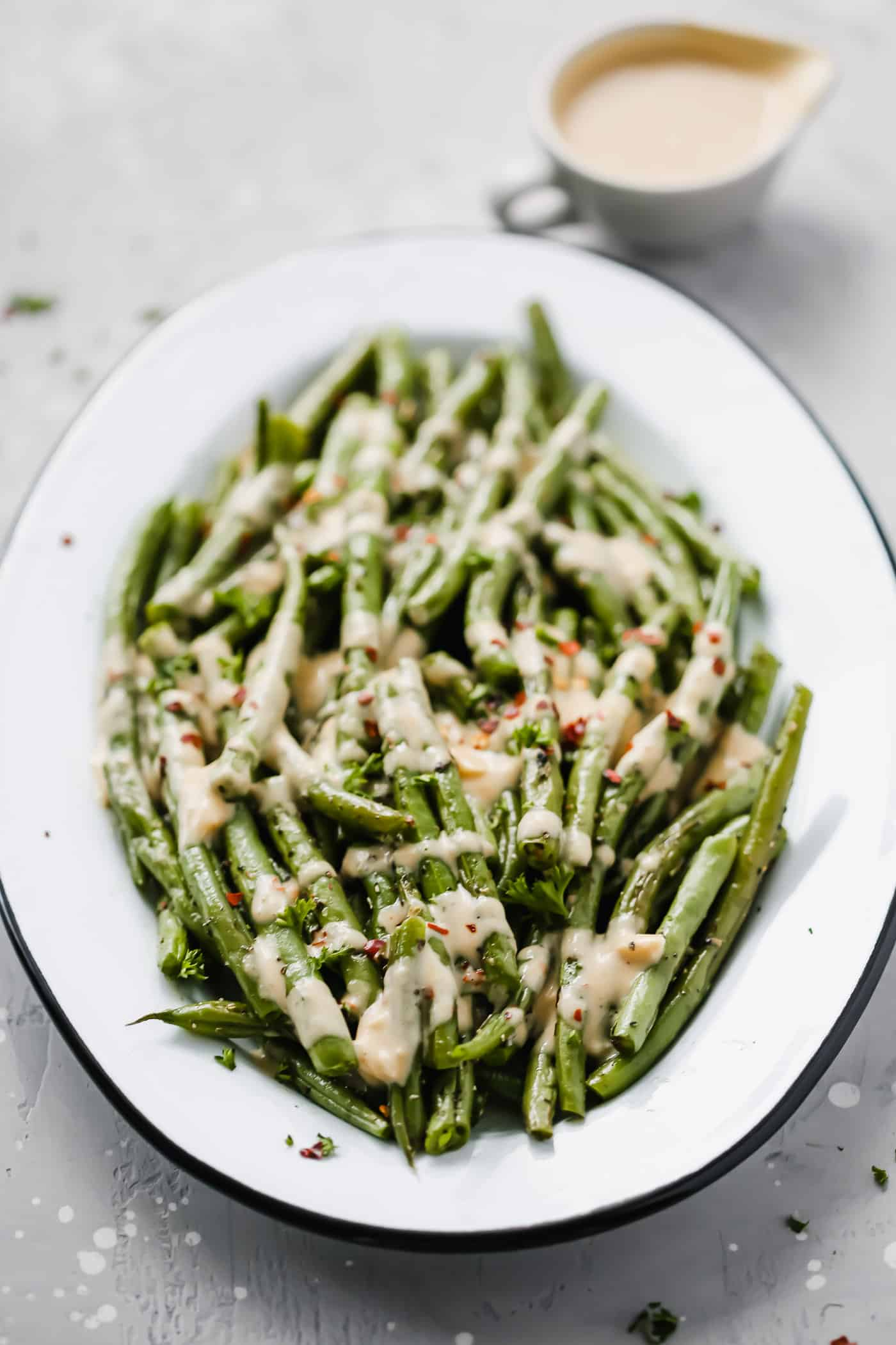 Roasted Green Beans with Spicy Tahini Sauce - Primavera Kitchen