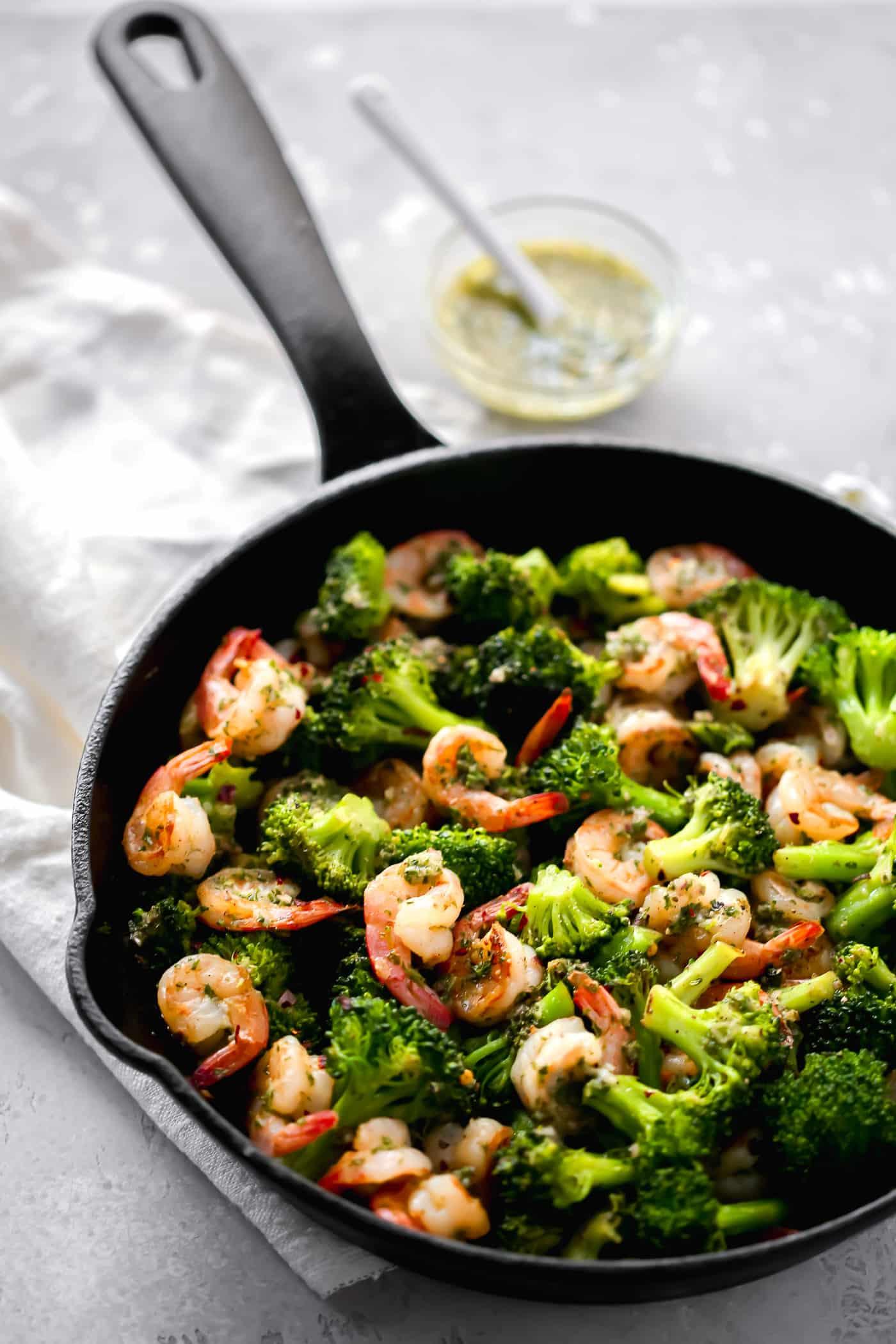 Chimichurri Shrimp Broccoli Skillet - Primavera Kitchen