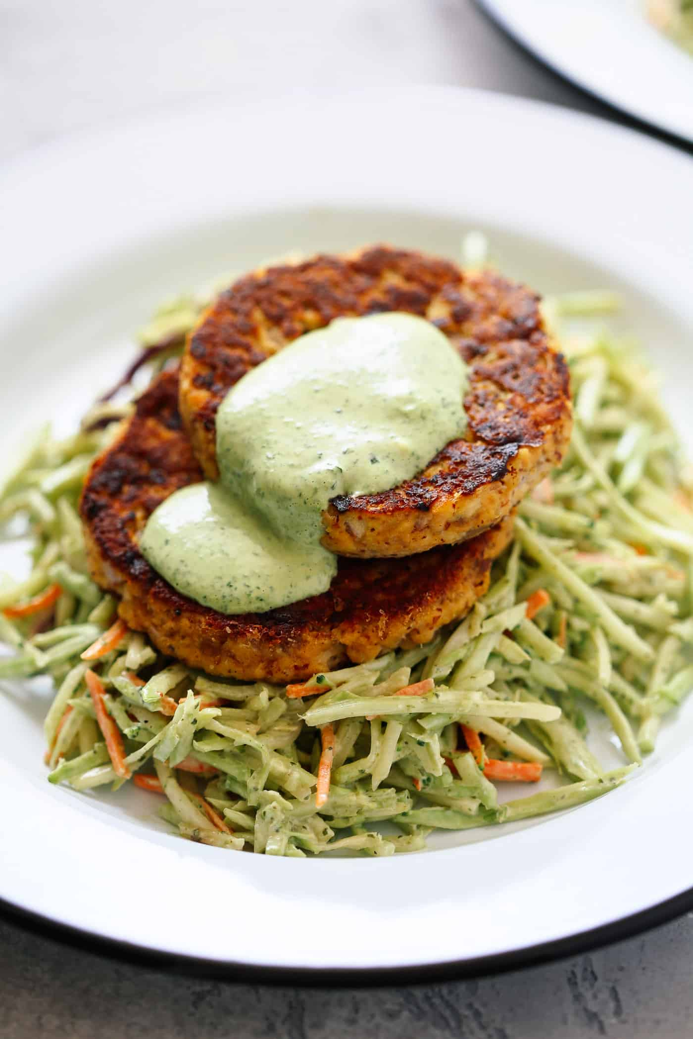 Low-Carb Salmon Burgers with Avocado Coleslaw - Primavera Kitchen