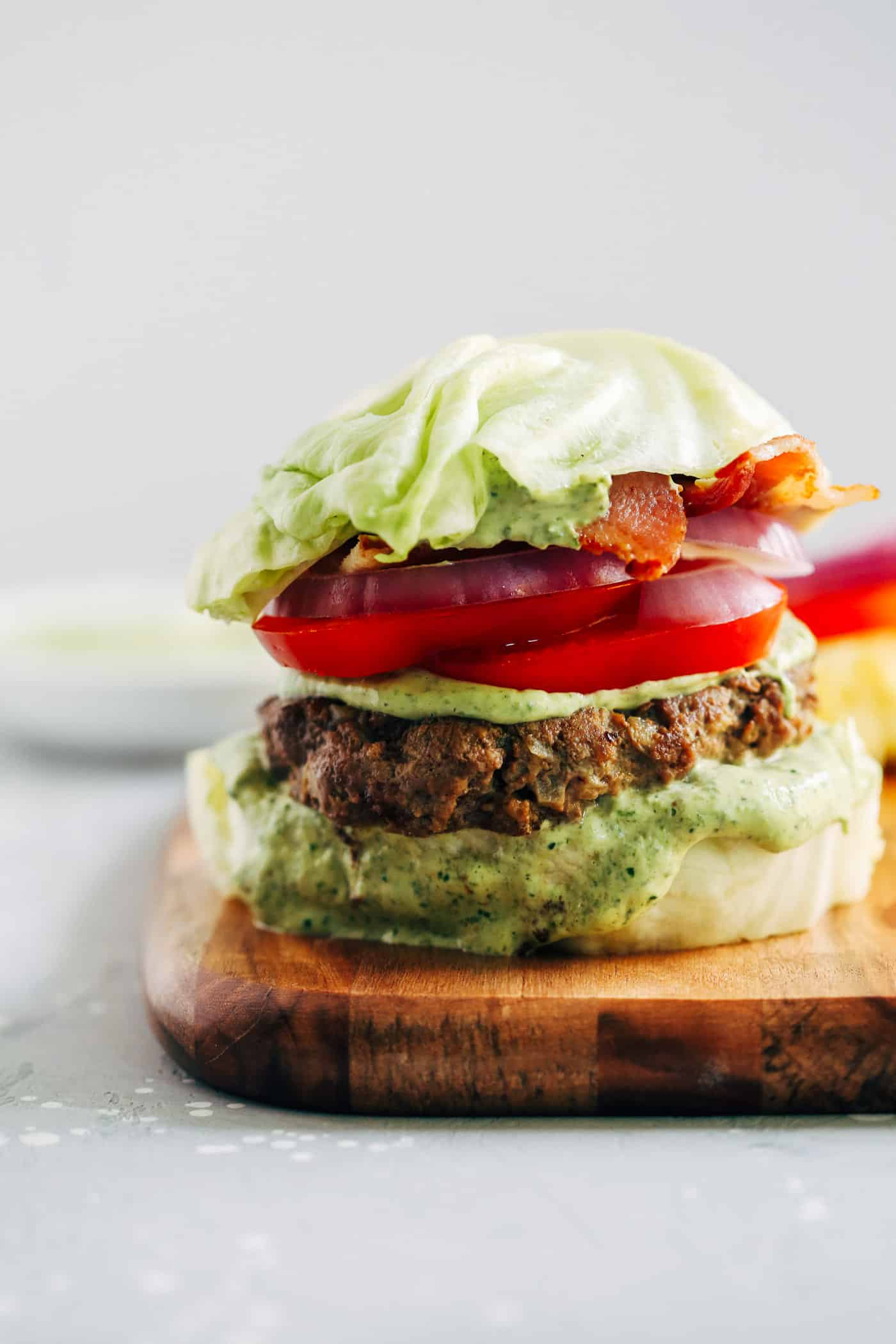 Spinach Sauce Bunless Burger - Primavera Kitchen