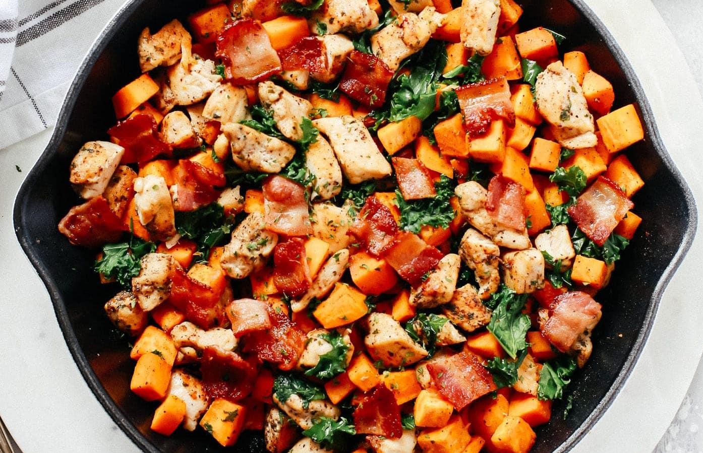 Sweet Potato Chicken Kale Skillet