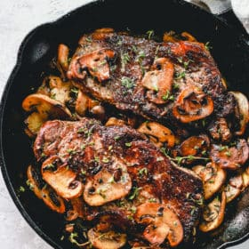Pan Seared Steak with Mushrooms over head view.