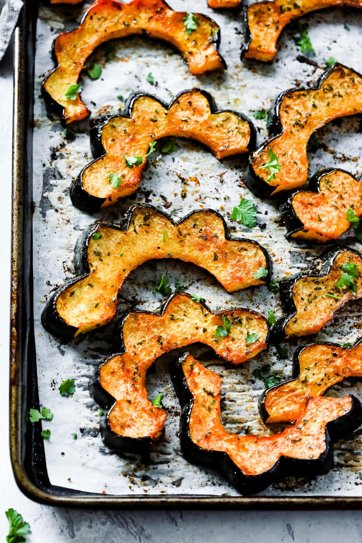 Easy Roasted Acorn Squash on a baking sheet
