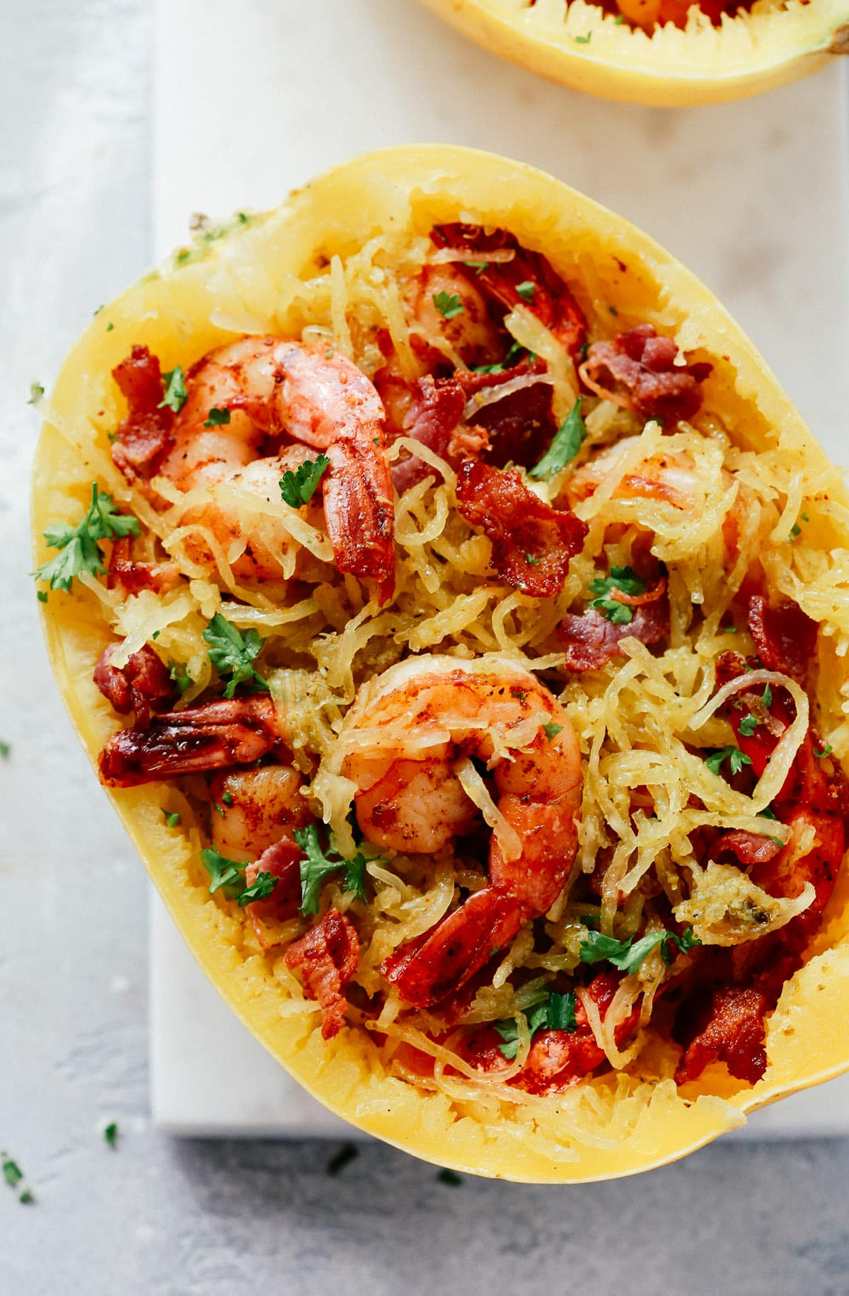 Pesto Spaghetti Squash with Shrimp