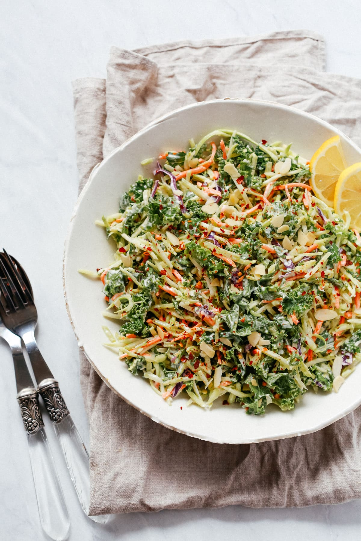 Super Easy Broccoli Kale Slaw Salad