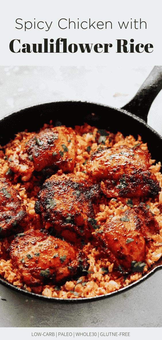 Spicy Chicken with Cauliflower Rice