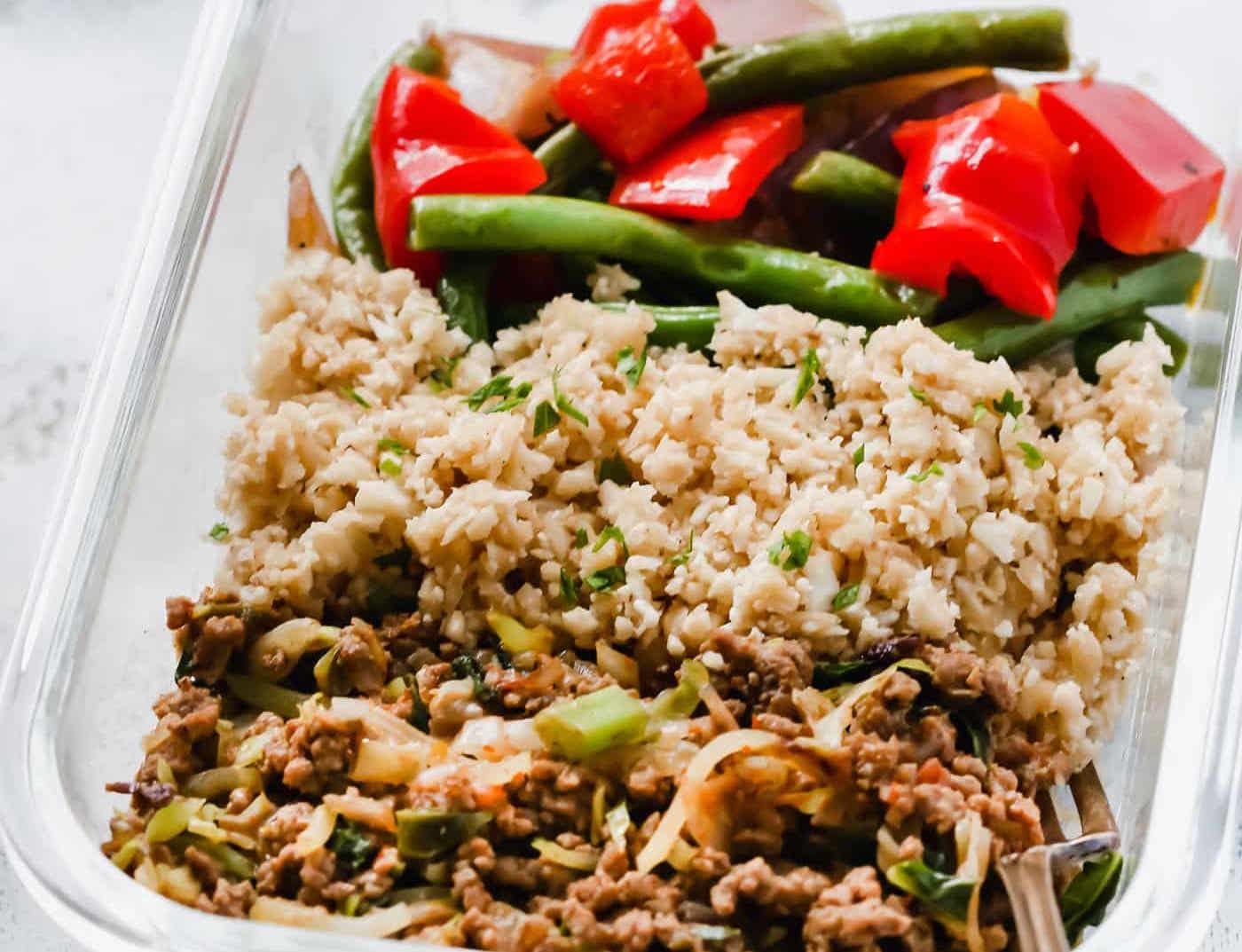 Ground Turkey Cauliflower Rice Veggie Bowls