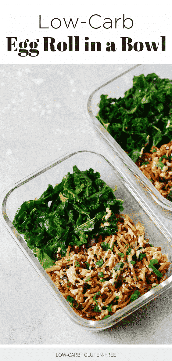 Low-carb Egg Roll in a Bowl with Sautéed Kale (Meal-Prep)