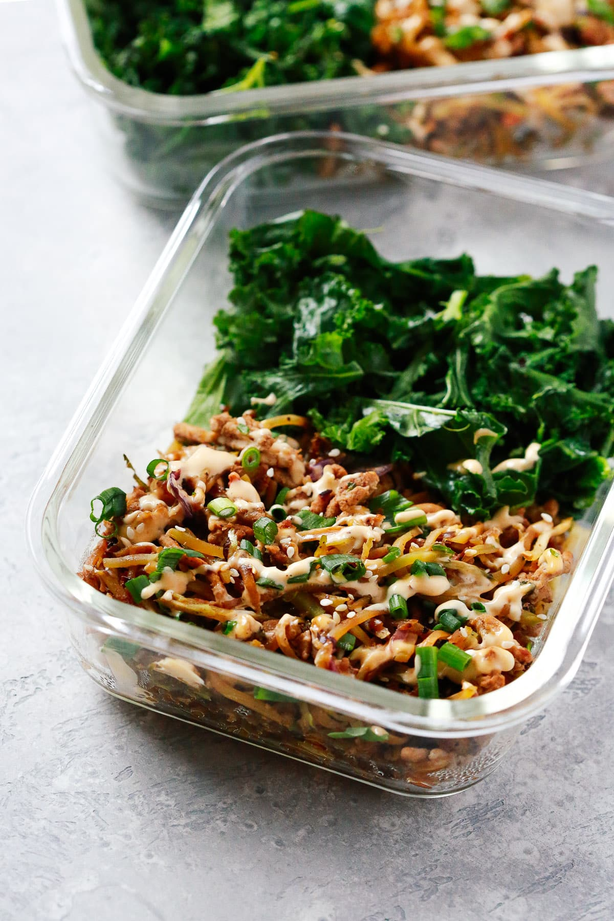 Low-carb Egg Roll in a Bowl with Sauteed Kale