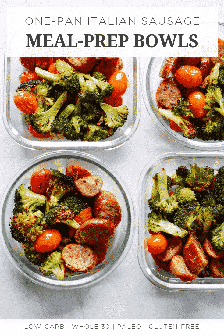 One-Pan Italian Sausage Meal-Prep Bowls