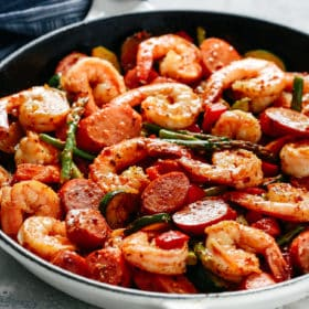 Shrimp and Sausage Vegetable Skillet.