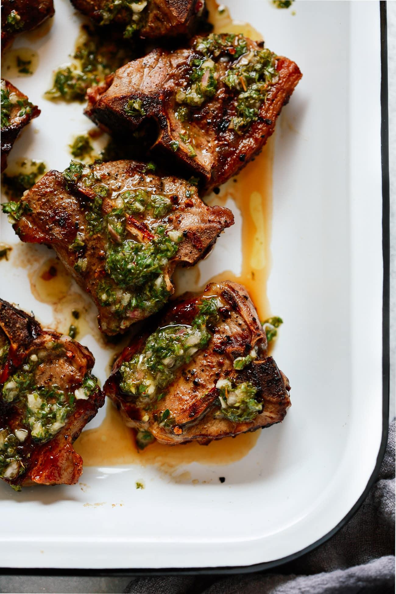 Lamb chops in chimichurri marinade