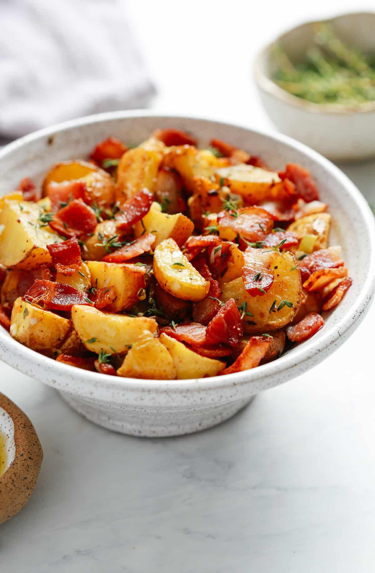 bowl of diced roasted red baby potatoes