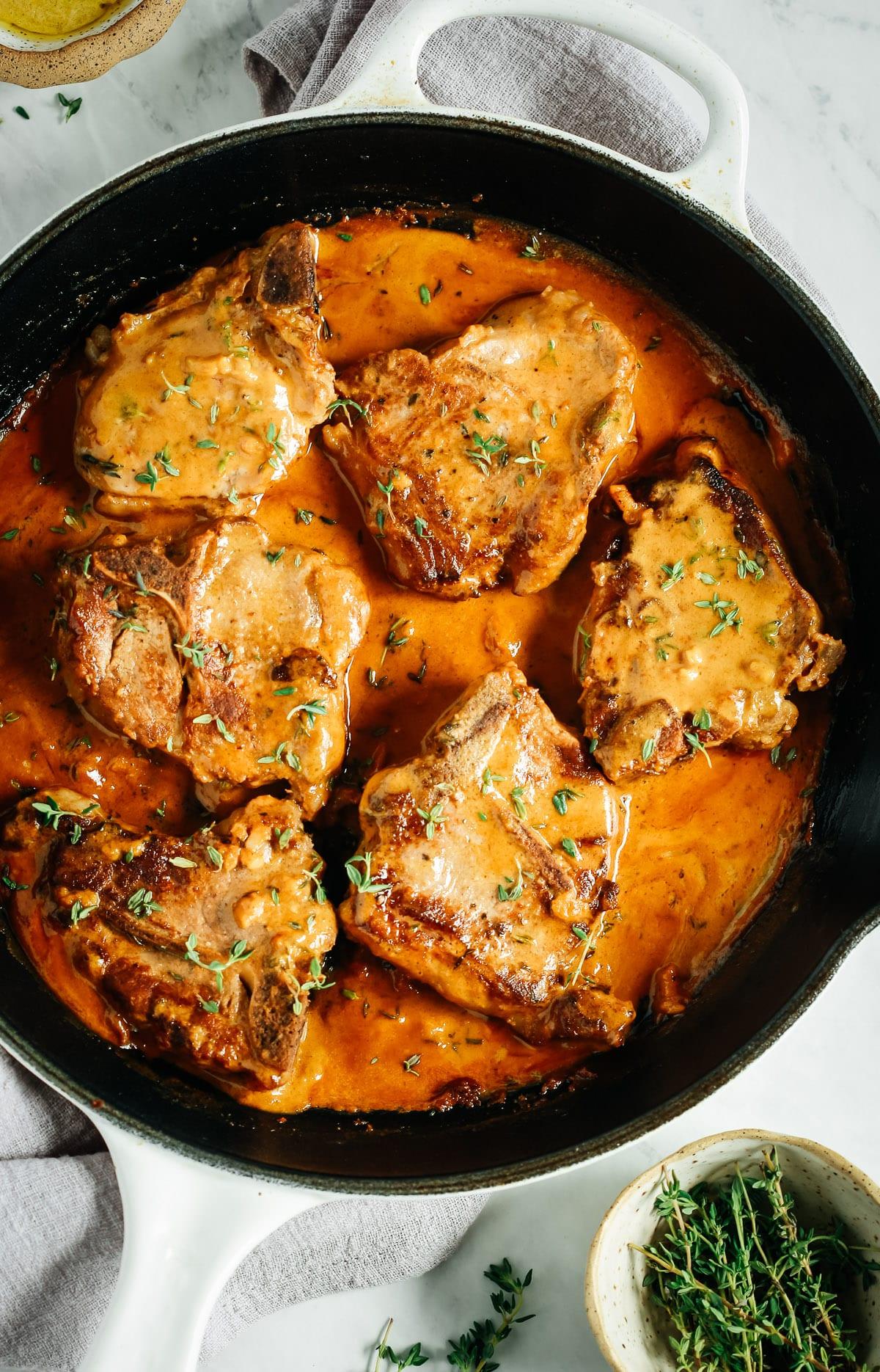 lamb sirloin chops cooking in pan