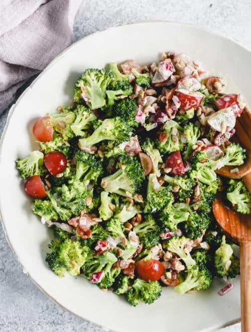 bowl of fresh broccoli salad
