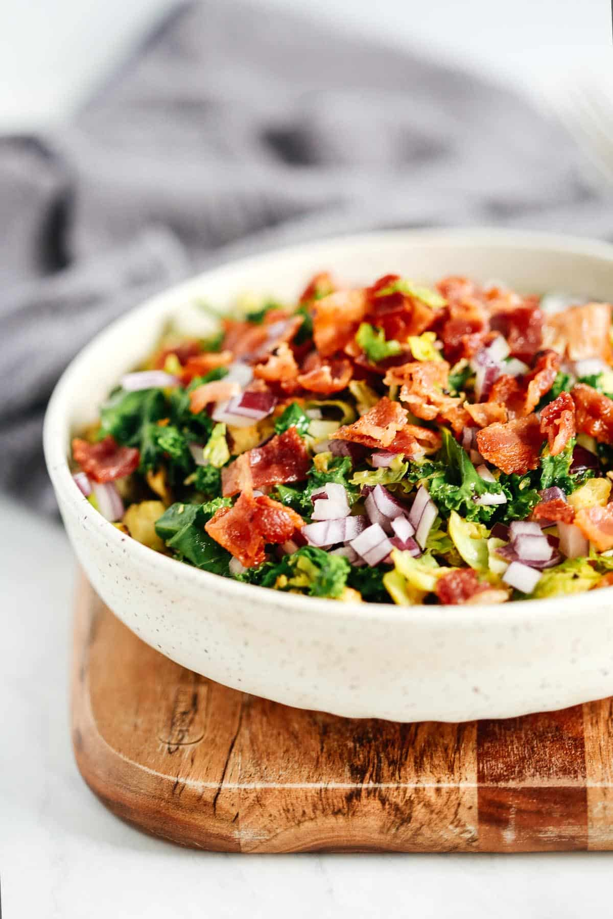 close up of Brussels Sprouts Bacon Salad