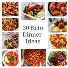 titled photo collage (and shown):30 minutes keto dinner ideas