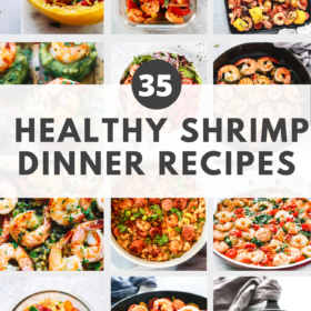 """Round up image with text """"35 Healthy Shrimp Dinner Recipes"""""""