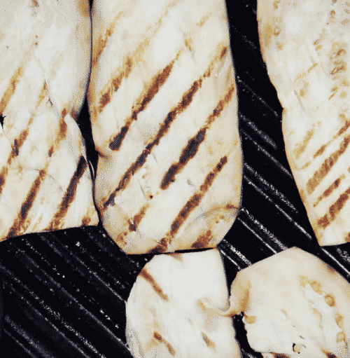 overhead view of grilled slices of eggplant