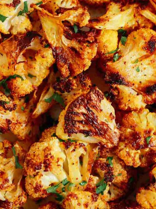 close up of roasted spicy cauliflower
